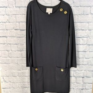 Sail to Sable Black Long Sleeve Dress - Med